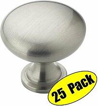KES Möbelknopf Möbelgriff Schubladengriff Zinklegierung Gebürstetes Nickel, 25 Pcs HCK300-2-P25