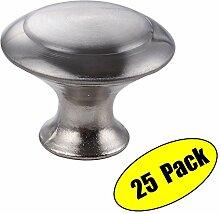 KES Möbelknopf Möbelgriff Schubladengriff Zinklegierung Gebürstetes Nickel, 25 Pcs HCK301-2-P25