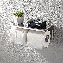 KES SUS 304 Edelstahl Double Roll Toilettenpapierhalter Lagerung Bad Küche Dual Papier Handtuch Dispenser Gewebe Roll Kleiderbügel Wandhalterung, Poliert, BPH201S2