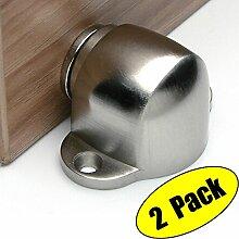 KES Türstopper Türpuffer im Edelstahl-Design 2 Stück mit Schraubkopf Türpuffer Bodenmontage, Gebürsteter, HDS202-2-P2