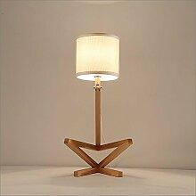 Kesierte E27 Hölzerne Tabellen-Lampe Moderne einfache Art für Hotel-Schlafzimmer Wohnzimmer-Nachttopf-Dekoration-spinnende Tuch Lampenschirm-hölzerne Hocke-Leute Schreibtisch-Lampen Höhe 26inch