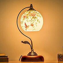 Kesierte LED E27 Tisch Lampe Creative für Schlafzimmer Wohnzimmer Dekoration Beleuchtung Hand bemalt Glas Schmiedeeisen Lampe Nachttisch Runde Schreibtischlampe , flowers and birds lamp