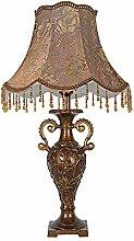 Kesierte LED E27 Tisch Lampe Retro für Schlafzimmer Wohnzimmer Dekoration Beleuchtung Stoff Harz am Krankenbett Schreibtischlampe , button switch