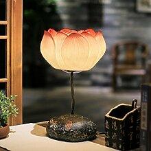 KesiErte Lotus Tischlampe Moderne Garten Stil Schlafzimmer Wohnzimmer Nachttisch Lampe Kreative Kunst Dekorative Leuchten , a