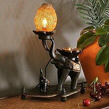 Kesierte Thai Holz Elefant Lampe Wohnzimmerlampe Schlafzimmer Bett Persönlichkeit Nachttischlampe