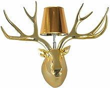 KesiErte Wandleuchter Deer Kopf Lampe Modern Kreativ für Hotel Bar Wohnzimmer Schlafzimmer Bedside Dekoration Harz Antler Halterung Licht , A