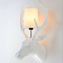 KesiErte Wandleuchter Deer Kopf Lampe Modern Kreativ für Hotel Bar Wohnzimmer Schlafzimmer Bedside Dekoration Harz Geweih Golden Silver Halterung Licht , white