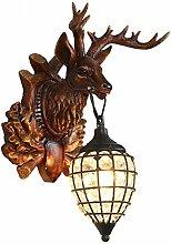 KesiErte Wandleuchter Deer Kopf Lampe Retro Kreativ für Hotel Bar Wohnzimmer Schlafzimmer Korridor Dekoration Harz Geweih Crystal Halterung Licht , small