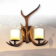 KesiErte Wandleuchter Geweih Lampe Retro Kreativ für Hotel Bar Wohnzimmer Schlafzimmer Bedside Dekoration Harz Double Geweih Halterung Lich