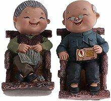 KESOTO Vintage Oma/Opa älteres Paar Statue,
