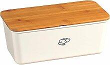 Kesper 58090 Brotbox mit Deckel aus Bambus in Bambus, Weiß/Braun, 34 x 14 x 18 cm