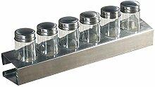 Kesper 90126 Gewürzregal mit 6 leeren Gläsern, 35 x 6 x 5 cm, Metall