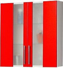 Kesper Badmöbel 6210000213801001 Hängeschrank Trento, 2 Türen, 70 x 65 x 20,5 cm, weiß / ro