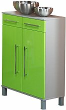 Kesper Badmöbel 9720900413801002 Unterschrank Elba, 2 Türen, 2 Schubkästen, 96 x 65 x 31,3 cm, alu / grün