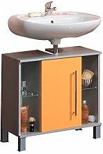 Kesper Badmöbel 9775900753801002 Waschbeckenunterschrank Elba, 1 Tür, 2 Glasablagen, 64,5 x 65 x 31,3 cm, alu / orange