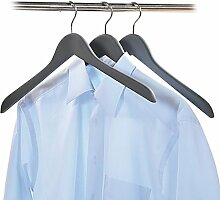 Kesper Kleiderbügel, 3er Set, Garderobenbügel, Kleiderhänger, aus Holz, Maße: 450 x 14 mm, dunkelgrau