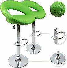 Kesser® 2er Set Barhocker Barstuhl Tresenhocker Küchenhocker Loungesessel Esszimmerstuhl ✓ Höhenverstellbar ✓ 360° drehbar ✓ mit Lehne   Gepolsterte Sitzfläche   mit Fußablage   Farbe: Grün