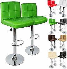 Kesser® 2er Set Barhocker Barstuhl Tresenhocker Küchenhocker Loungesessel Esszimmerstuhl ✓ Höhenverstellbar ✓ 360° drehbar ✓ Chromfuß   Gepolsterte Sitzfläche   Farbe: Grün