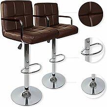 Kesser® 2er Set Barhocker Barstuhl Tresenhocker Küchenhocker Loungesessel Esszimmerstuhl ✓ Höhenverstellbar ✓ 360° drehbar ✓ mit Lehne | Gepolsterte Sitzfläche | mit Fußablage | Farbe: Braun
