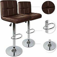 Kesser® 2er Set Barhocker Barstuhl Tresenhocker Küchenhocker Loungesessel Esszimmerstuhl ✓ Höhenverstellbar ✓ 360° drehbar ✓ Chromfuß | Gepolsterte Sitzfläche | Farbe: Braun