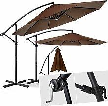 Kesser Alu Ampelschirm Ø 300 cm ✔mit Kurbelvorrichtung ✔UV-Schutz ✔Aluminium ✔wasserabweisende Bespannung - Sonnenschirm Schirm Gartenschirm Marktschirm Braun