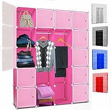 Kesser® DIY Kleiderschrank Schrank Steckregal ✓ Schuhschrank ✓ Regalsystem ✓ Garderobe | Belastbar | Größe: 20 Boxen / 1000 Liter | Farbe: Rosa