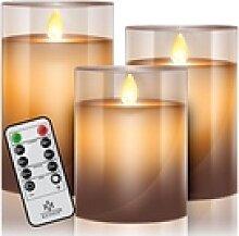 KESSER LED-Kerze, 3er Set Flammenlose Kerze mit