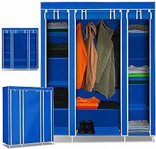 KESSER® XXL Stoffschrank Kleiderschrank Faltschrank Schrank faltbar Garderobe , Farbe:Blau