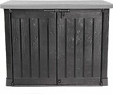 Keter Store It Out Max Gartenbox Mülltonnenbox Gerätebox Schuppen für 2 x 240 Liter Mülltonnen (Anthrazit Grau)