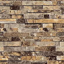 KeTian Dreidimensionale Tapete Backsteinmauer PVC 3D texturiert für Wohnzimmer / TV-Hintergrund Wand / Hotel 0,53m Bx10m L = 5,3m², PVC, beige, 0.53m (1.73' W) x 10m(32.8'L)=5.3m2 (57 sq.ft)