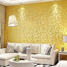 KeTian Hochwertige, strukturierte Wandtapete mit Rosenmuster, dickes PVC, mit Beflockung und Tiefenprägung, für Wohnzimmer und Schlafzimmer, Tapetenrolle: 0,53m x 10m (B x L) = 5,3m2, goldgelb, 0.53m (1.73' W) x 10m(32.8'L)=5.3m2 (57 sq.ft)
