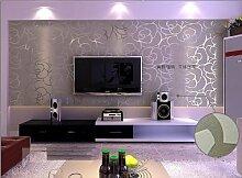 KeTian Hochwertige, strukturierte Wandtapete mit Rosenmuster, dickes PVC, mit Beflockung und Tiefenprägung, für Wohnzimmer und Schlafzimmer, Tapetenrolle: 0,53m x 10m (B x L) = 5,3m2, Silbergrau, 0.53m (1.73' W) x 10m(32.8'L)=5.3m2 (57 sq.ft)