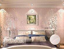 KeTian Hochwertige, strukturierte Wandtapete mit Rosenmuster, dickes PVC, mit Beflockung und Tiefenprägung, für Wohnzimmer und Schlafzimmer, Tapetenrolle: 0,53m x 10m (B x L) = 5,3m2, rose, 0.53m (1.73' W) x 10m(32.8'L)=5.3m2 (57 sq.ft)