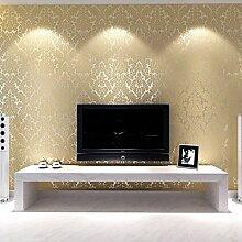 KeTian Luxuriöse Tapete, PVC, in europäischem Damastlook geprägt, Vintage-Tapete für Wohn- oder Schlafzimmer, pro Rolle 5,3 m2 (0,53 m x 10 m), PVC, beige, 0.53m (1.73' W) x 10m(32.8'L)=5.3m2 (57 sq.ft)