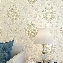 KeTian Luxus 3D Damast-Perlen-Puder Vliestapete im europäischen Stil als Rolle fürs Wohnzimmer, Schlafzimmer oder Hotel (0,53m Breite x 10m Länge) , cremefarben, 0.53m (1.73' W) x 10m(32.8'L)=5.3m2 (57 sq.ft)