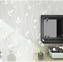 """ketian Modern Mediterraner Stil Vliestapete 3D für Wohnzimmer Schlafzimmer TV Hintergrund Tree Leaf Muster Tapete Rolle 1,73""""x 32,8L = 57FT², cremefarben, 0.53m (1.73' W) x 10m(32.8'L)=5.3m2 (57 sq.ft)"""