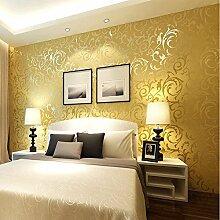 keTian Moderne Vliestapete im Stil viktorianischer Luxus-Damast, geprägt, Rolle 0,53m x 10m , goldgelb, 0.53m (1.73' W) x 10m (32.8' L) = 5.3㎡ (57 sq.ft)