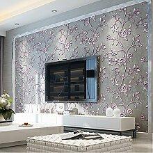 ketian Tapeten Modern Einfache 3D Dick Vlies geprägt Baum Blumen Muster für TV Hintergrund Rolle 0,53m (1,73'W) X 10M (32,8' L) = 5.3m2() 57, Gray Purple, 0.53m (1.73' W) x 10m(32.8'L)=5.3m2 (57 sq.ft)