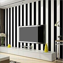 KeTian Vliesapete aus PVC in moderner, minimalistischer Optik, vertikal gestreift, für Schlafzimmer oder Wohnzimmer. 0,53m x 10m = 5,3m², PVC, schwarz / weiß, 0.53m (1.73' W) x 10m(32.8'L)=5.3m2 (57 sq.ft)