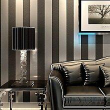 KeTian Vliesapete aus PVC in moderner, minimalistischer Optik, vertikal gestreift, für Schlafzimmer oder Wohnzimmer. 0,53m x 10m = 5,3m², Schwarz / Grau, 0.53m (1.73' W) x 10m(32.8'L)=5.3m2 (57 sq.ft)