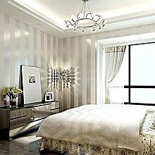 KeTian Vliesapete aus PVC in moderner, minimalistischer Optik, vertikal gestreift, für Schlafzimmer oder Wohnzimmer. 0,53m x 10m = 5,3m², Cream&Silver, 0.53m (1.73' W) x 10m(32.8'L)=5.3m2 (57 sq.ft)