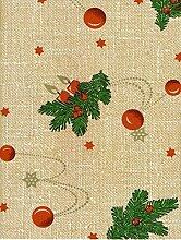KEVKUS Wachstuch Tischdecke Meterware Weihnachten Tannenzweig 2412-DLG5 Größe wählbar in eckig rund oval (10 m x 140 cm)