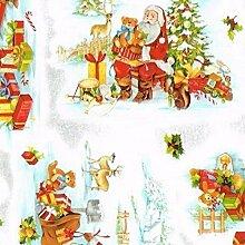 KEVKUS Wachstuch Tischdecke Meterware Weihnachten Weihnachtsmann B8987-01 Größe Wählbar in Eckig Rund Oval (140x200 cm Eckig)