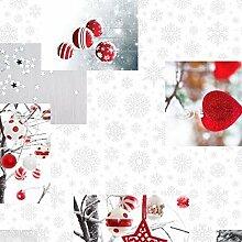 KEVKUS Wachstuch Tischdecke Rollenware 20 Meter Rolle x 140 cm Breite Weihnachten C141251 (20 m x 140 cm eckig)