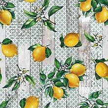 KEVKUS Wachstuch Tischdecke Zitronen Holzpanellen