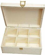 KF-Holz Teebox mit 6 Fächern, Sammelbox,