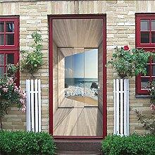KGLGCY 3D Tür Fototapete Zimmer mit Meerblick