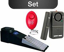 kh security Studentinnen-Set Schlüsselalarm mit Türstopper und Fensteralarm, pink, 100137bun1