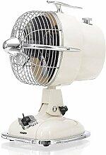 KHAPP Retro Ventilator klein in Weiß, Tischventilator JET mit 3 Geschwindigkeitsstufen, kleiner Standventilator im 50er Jahre Design