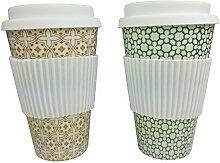 khevga Kaffee-Becher to go Trinkbecher mit Deckel aus Bambus 2er Se